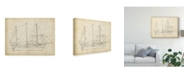 "Trademark Global Ethan Harper Sailboat Blueprint II Canvas Art - 15"" x 20"""