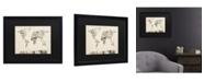 "Trademark Global Michael Tompsett Vintage Postcards World Map Matted Framed Art - 15"" x 20"""