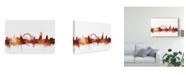 "Trademark Global Michael Tompsett London England Skyline Red Canvas Art - 37"" x 49"""