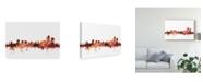 "Trademark Global Michael Tompsett Wilmington Delaware Skyline Red Canvas Art - 37"" x 49"""