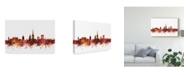 "Trademark Global Michael Tompsett Norwich England Skyline Red Canvas Art - 37"" x 49"""