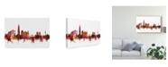 "Trademark Global Michael Tompsett Seoul Skyline South Korea Red Canvas Art - 15"" x 20"""