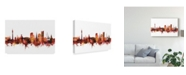 "Trademark Global Michael Tompsett Dortmund Germany Skyline Red Canvas Art - 37"" x 49"""