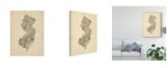 """Trademark Global Michael Tompsett Old Sheet Music Map of New Jersey Canvas Art - 37"""" x 49"""""""