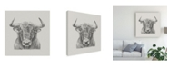 "Trademark Global Ethan Harper Black and White Bull Canvas Art - 15"" x 20"""