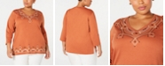 Alfred Dunner Plus Size Street Smart Embroidered 3/4-Sleeve Top