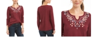 Style & Co Embroidered Split-Neck Cotton Thermal Top, Created for Macy's