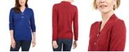 Karen Scott Cotton Marled Henley Sweater, Created for Macy's