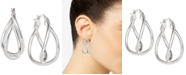 Macy's Twisted Double Hoop Earrings in Sterling Silver