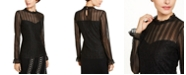 INC International Concepts INC Petite Metallic Illusion Ruffled-Neck Top, Created for Macy's