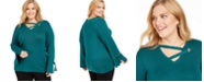 JM Collection Plus Size Grommet-Detail Sweater, Created for Macy's