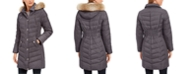 Michael Kors Faux-Fur-Trim Hooded Chevron Down Puffer Coat, Created for Macy's