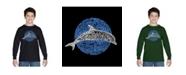 LA Pop Art Boy's Word Art Long Sleeve T-Shirt - Species of Dolphin