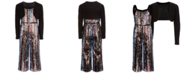 Beautees Big Girls 2-Pc. Shrug & Belted Sequined Jumpsuit Set