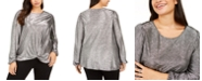 INC International Concepts INC Plus Size Twist-Front Shine Top, Created For Macy's