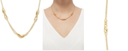 """Italian Gold Polished Oval Interlocking Link 17"""" Statement Necklace in 10k Gold"""