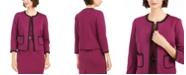 Nine West Contrast-Trim Open-Front Blazer