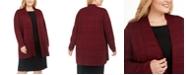 Kasper Plus Size Tonal Plaid Long Cardigan Sweater