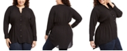 NY Collection Plus Size High-Low Smocked-Waist Tunic