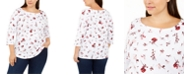 Charter Club Plus Size Printed Cotton Boat-Neck Top, Created For Macy's