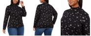 Karen Scott Plus Size Snowy Glory Printed Mock-Neck Top, Created For Macy's