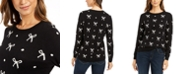 Charter Club Petite Bow-Print Sweater, Created For Macy's