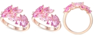 Macy's Lab-Created Pink Sapphire Leaf Statement Ring (2 ct. t.w.) in 14k Gold-Plated Sterling Silver