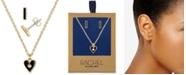 "RACHEL Rachel Roy Gold-Tone Pavé Heart Pendant Necklace & Stud Earrings Gift Set, 16"" + 2"" extender"