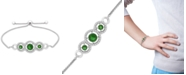Macy's Lab-Created Emerald (3/4 ct. t.w.) & White Sapphire (1/3 ct. t.w.) Bolo Bracelet in Sterling Silver