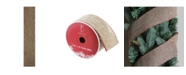"""Northlight Pack of 12 Beige Burlp and Red Trim Wired Christmas Craft Ribbon Spools - 2.5"""" x 120 Yards Total"""