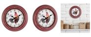 "La Crosse Technology La Crosse Clock 404-3630 12"" Round Rooster Distressed Plastic Analog Wall Clock"