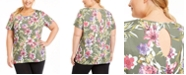 Ideology Plus Size Palm Floral-Print Top, Created For Macy's