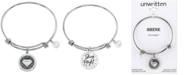 Unwritten Light Gray Gem Charm Bangle Bracelet in Stainless Steel