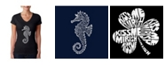 LA Pop Art Women's Word Art V-Neck T-Shirt - Types of Seahorse