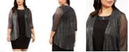 Connected Plus Size Open-Front Metallic Jacket