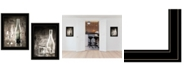 "Trendy Decor 4U Moody Gray Glassware Still Life 2-Piece Vignette by Bluebird Barn, Black Frame, 15"" x 19"""