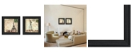 """Trendy Decor 4U Post Cards Collection By Dee Dee, Printed Wall Art, Ready to hang, Black Frame, 14"""" x 14"""""""