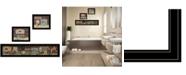 "Trendy Decor 4U COUNTRY BATH 1 3-Piece Vignette by Pam Britten, Black Frame, 39"" x 14"""