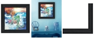 "Trendy Decor 4U Sunset Mermaid by Bluebird Barn, Ready to hang Framed Print, Black Frame, 15"" x 15"""