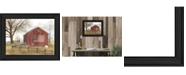 "Trendy Decor 4U Flag Barn By Billy Jacobs, Printed Wall Art, Ready to hang, Black Frame, 15"" x 19"""