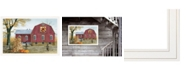 """Trendy Decor 4U Autumn Leaf Quilt Block Barn by Billy Jacobs, Ready to hang Framed Print, White Frame, 38"""" x 26"""""""