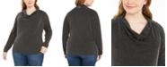 Michael Kors Plus Size Metallic-Stripe Cowlneck Sweater