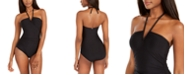Calvin Klein Solid V-Wire Halter-Neck One-Piece Swimsuit