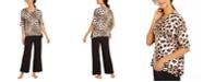 Ellen Tracy Animal-Print Top & Palazzo Pant Pajama Set