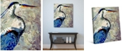 """Creative Gallery Crane with Blue Feathers 20"""" x 16"""" Canvas Wall Art Print"""