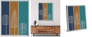 """Creative Gallery Retro Flat Feather Pine Trees in Navy, Amber Teal 24"""" x 20"""" Canvas Wall Art Print"""