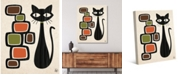 """Creative Gallery Retro Cat with Bubbles in Tawny, Olive Brown 36"""" x 24"""" Canvas Wall Art Print"""