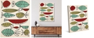 "Creative Gallery Retro Fish Swarm in Mint, Olive Rust 24"" x 20"" Canvas Wall Art Print"