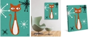"""Creative Gallery Retro Cat Pin Astrobursts on Teal 20"""" x 16"""" Canvas Wall Art Print"""