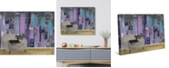 "Creative Gallery Retro City Cat Lounge in Purple 24"" x 20"" Canvas Wall Art Print"